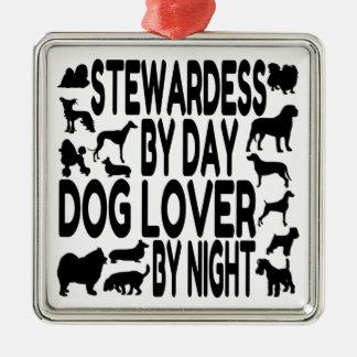 Azafata del amante del perro ornamentos de navidad