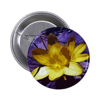 Azafrán amarilla de Digitaces Pin Redondo De 2 Pulgadas