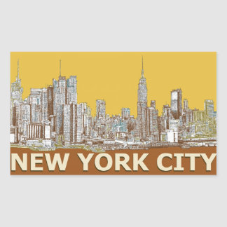 Azafrán del horizonte de Nueva York Rectangular Pegatinas