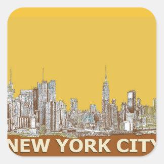 Azafrán del horizonte de Nueva York Pegatinas Cuadradas Personalizadas