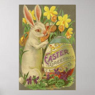 Azafrán del narciso del huevo de la pintura del co póster