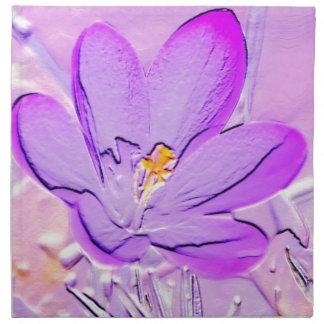Azafrán púrpura grabada en relieve servilletas imprimidas