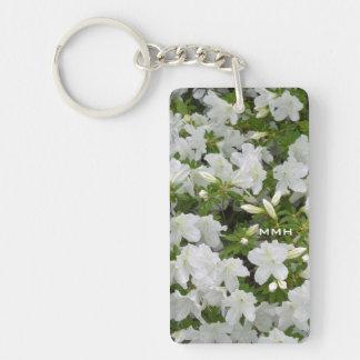 Azalea Bush White Flower Blooms Optional Monogram Keychain