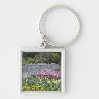 Azalea Heath Family (Ericaceae), Tulip, and Silver-Colored Square Keychain