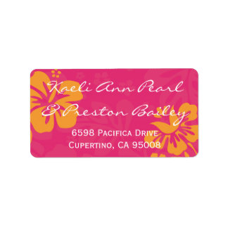 Azalea/Orange Beach Flowers Labels