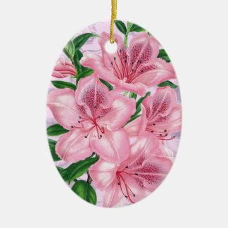 Azalea Pink Romance Ceramic Ornament