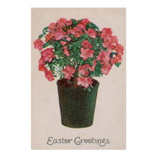 Azalea Potted Plant Easter Poster