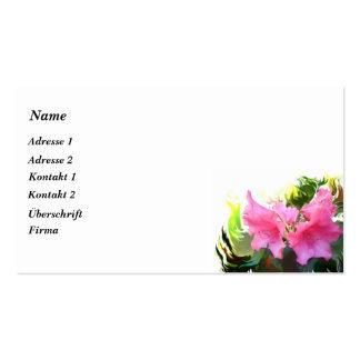 Azalea rosa tarjetas de visita