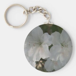 Azaleas blancas llavero redondo tipo pin
