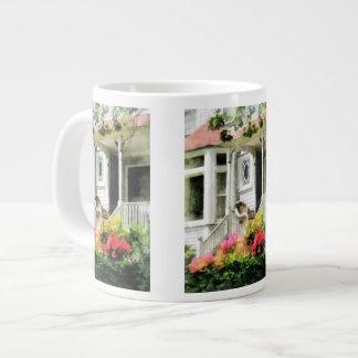 Azaleas by Porch With Wicker Chair Large Coffee Mug
