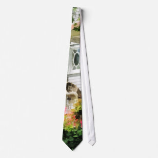 Azaleas by Porch With Wicker Chair Neck Tie