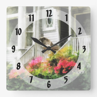 Azaleas by Porch With Wicker Chair Square Wall Clock