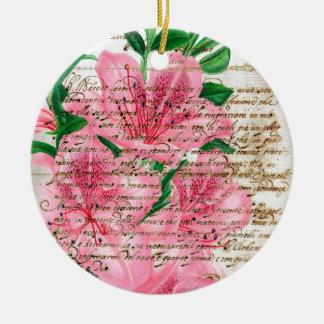 Azaleas Collage Ceramic Ornament
