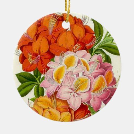 Azaleas coloridas en rosado, naranja y oro ornamento para arbol de navidad