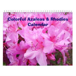 Azaleas del calendario y calendarios coloridos de