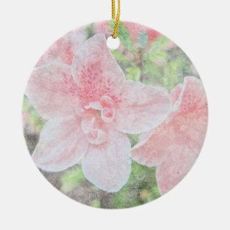 Azaleas descoloradas adorno navideño redondo de cerámica