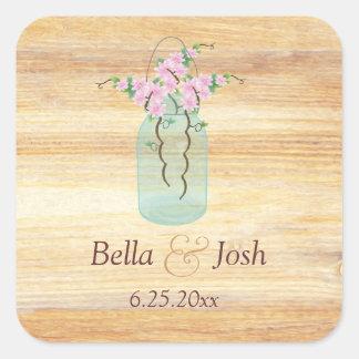 Azaleas rústicas del rosa del tarro de albañil que calcomania cuadradas personalizada