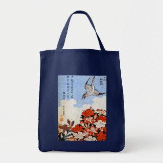 Azaleas y gorrión, Katsushika Hokusai Bolsas Lienzo