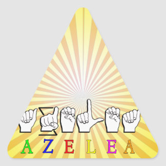 AZELEA  FINGERSPELLED ASL SIGN NAME FEMALE TRIANGLE STICKER
