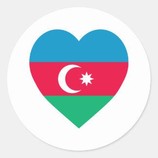 Azerbaijan Flag Heart Classic Round Sticker