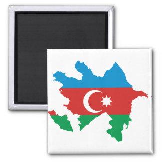 Azerbaijan Flag map AZ 2 Inch Square Magnet