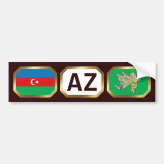Azerbaijan Flag Map Code Bumper Sticker Car Bumper Sticker