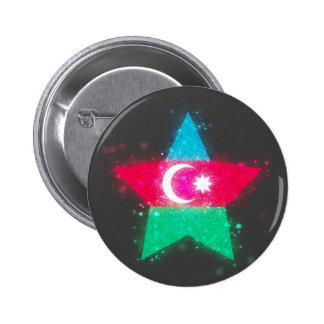 Azerbaijan Flag Star Shining 2 Inch Round Button