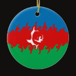 Azerbaijan Gnarly Flag Ceramic Ornament
