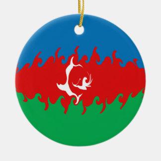 Azerbaijan Gnarly Flag Ceramic Ornament