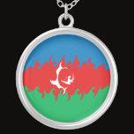 Azerbaijan Gnarly Flag Silver Plated Necklace
