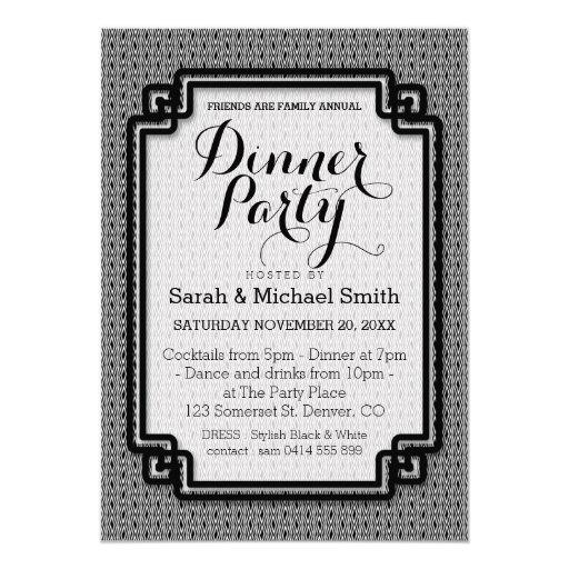 Azika S1 Black White Dinner Party Invitation