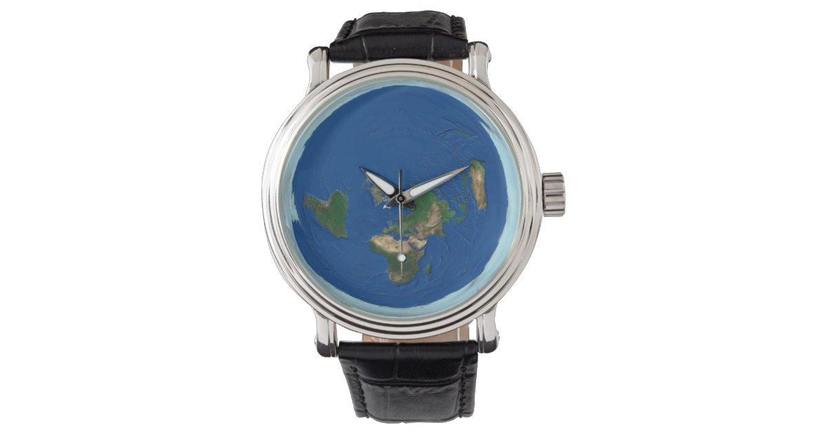 azimuthal equidistant world map flat earth watch zazzlecom