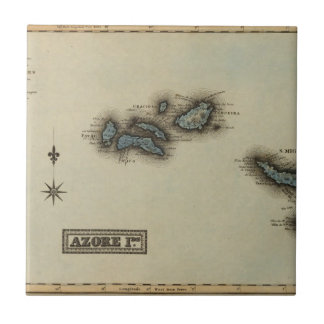 Azore Islands Atlas Map Ceramic Tile