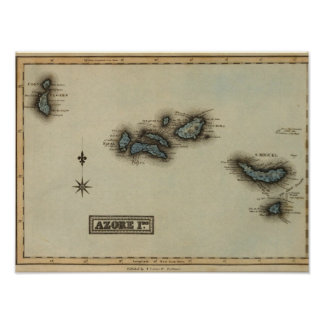 Azore Islands Atlas Map Poster