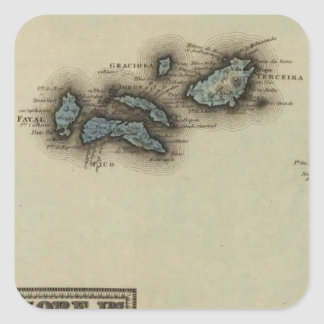 Azore Islands Atlas Map Square Sticker