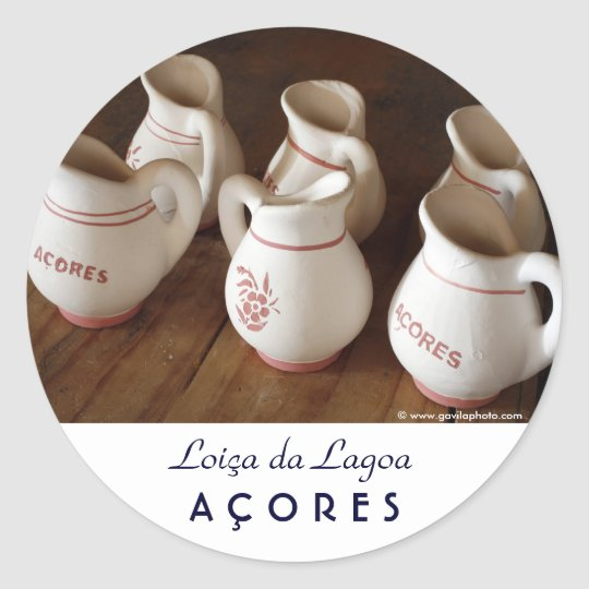 Azorean ceramic pitchers classic round sticker