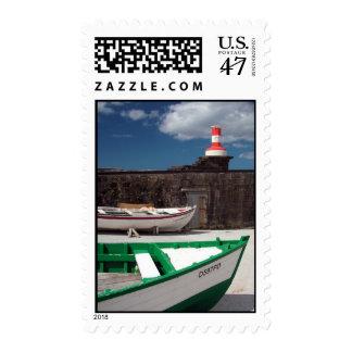 Azorean harbour postage stamp
