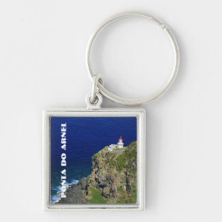 Azorean Lighthouse Silver-Colored Square Keychain