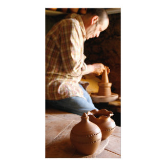 Azorean potter at work photo card