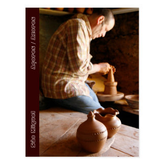 Azorean potter at work post cards