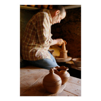 Azorean potter at work poster