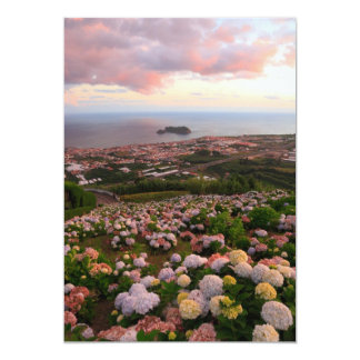 Azorean town at sunset card