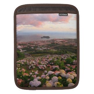 Azorean town at sunset iPad sleeve