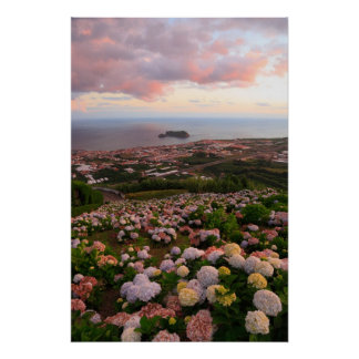 Azorean town at sunset poster
