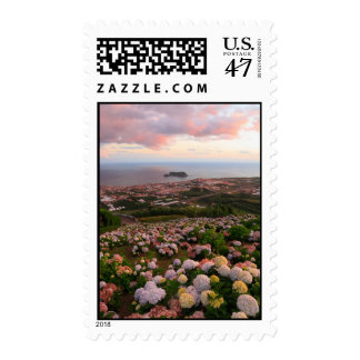 Azorean town at sunset stamp