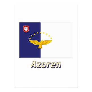 Azoren Flagge mit Namen Postcard