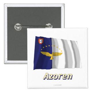 Azoren Fliegende Flagge mit Namen 2 Inch Square Button