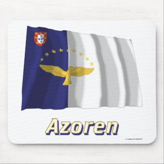 Azoren Fliegende Flagge mit Namen Mouse Pad