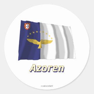 Azoren Fliegende Flagge mit Namen Round Sticker