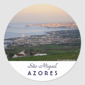 Azores at dawn classic round sticker